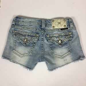 Miss Me Bling & Embroidered Denim Jean Shorts 26